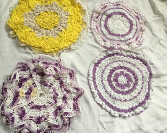 Vintage Collection of Large Bright Colored Scallop Edge Crocheted Doilies - Cottage Chic - Shabby Chic
