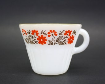 Vintage Termocrisa Mexican Milk Glass Mug with Red Floral Border (E5638)