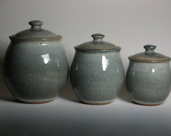 Canister set in slate blue