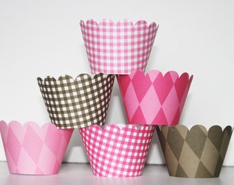 Cowgirl, hot pink brown, Cupcake Wrappers, Basic collection, liner, wedding, bridal shower, baby shower, birthday party, western, gingham