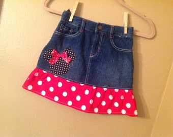 Minnie Mouse skirt girls size 9 (8) only -  upcycled  -refab - Disney Vacation- Ready to Ship