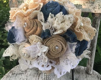 Denim Bouquet, Denim, Burlap and Lace Bridal Bouquet Denim and Pearls Wedding bouquet, Denim and Diamonds, Rustic, Country Wedding Flowers