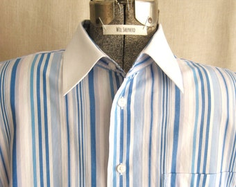 Mens Blue Dress Shirts, Mans Vintage Shirt, Cotton, Striped, Sustainable, Wil Shepherd,Clothing, Long Sleeve, Large, Hand Sewn, Sport Shirt