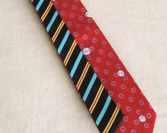 Mens Neck Ties, Silk Necktie, Striped, Stripes, Polka Dots, Red, Ties, Hand Embroidered, Wil Shepherd, Vintage, Neck Wear, Up Cycled, Preppy