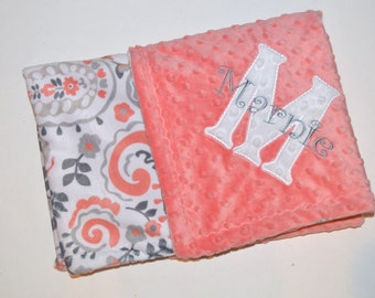 Paisley Minky Baby Blanket - Monogrammed Personalized - Coral and Gray - Trendy girl gift Blanket with Name, Birth Stats, Paisley blanket
