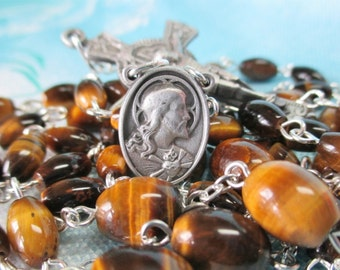 Handmade Catholic Rosary, Oval Tiger Eye Gemstone Beads, Pewter Sacred Heart and OLO Mt Carmel Center, Pewter Crucifix