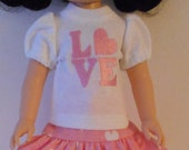 "Embroidered hearts knit outfit fits Wellie Wishers 14 1/2"" dolls"