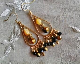 Gold chandelier earrings, Long gypsy gold teardrop black brown crystal citrine chandelier earrings