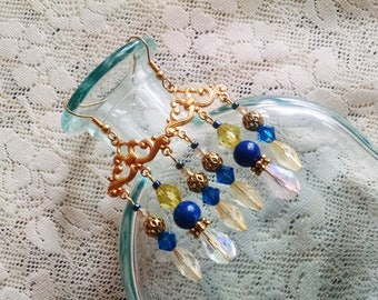 gold chandelier earrings with clear and blue crystal and lapis, 2 inches plus 3/4 inch wires