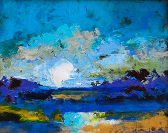 "Fine Art Giclee Print ""Sapphire Day"" From Original Landscape Painting by Claire McElveen Signed"