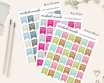 Day Off and Sick Day Flags Planner Stickers for Erin Condren Planner, Filofax, Plum Paper | Item MP-033