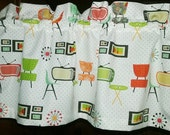 """Valance or Panel RETRO ATOMIC ROOM Print  40 x 12"""" 14"""" 18"""" 24"""" or 32"""" Lined or unlined"""