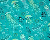 """Valance or Panel New Turq. JELLYFISH Print  Cotton 40 x 12"""" 14"""" 18"""" 24"""" or 32"""" Lined or unlined"""