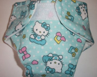 Cloth Doll Diaper hello kitty blue size #2 washable w velcro fits bitty baby baby alive cabbage patch American Girl doll and stuffed animals