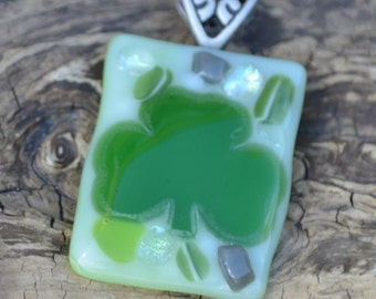 SALE! Fused Glass Irish Shamrock Pendant