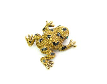 Animal Brooch. Golden Toad. Frog Rhinestone & Enamel Figural. Citrine, Topaz Encrusted Amphibian. Vintage Naturalist Animal Jewelry Gift