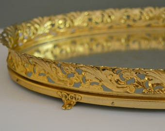 Vintage Mirror Tray - Vanity Gold Brass Shiny Ornate Serving Metal Coffee Table Home Decor Whimsical Mirrored