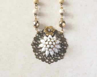 Vintage Rhinestone Brooch Necklace, White Flower Pendant Necklace, Vintage Upcycled Rhinestone Necklace