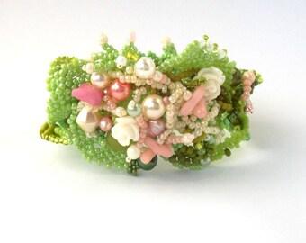 Spring jewelry, Beaded cuff bracelet, Spring gift for women, Green bracelet, Freeform beadwork, Boho jewelry, Womens bracelet