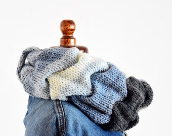 Cable knit infinity scarf, Blue infinity scarf, ruffle neckwarmer scarf, chunky knit scarf, Denim gray white cable knit scarf, wrap cowl