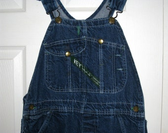 Vintage 1950s KEY IMPERIAL - Aristocrat Of Overalls - Blue Denim Bib, Carpenter Overalls, USA, Donut Button Fly, 30 X 29