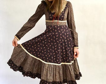 Vintage 70s Gunne Sax Mixed Print Prairie Dress Floral Hippie Midi Dress