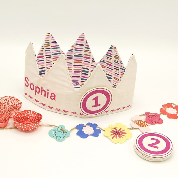 First Birthday Crown, Party Crown, Gift for a one year old, Pink birthday Crown, personalized Birthday crown, 1st Birthday Crown