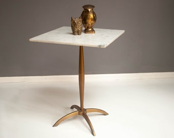 Mid-Century Marble and Brass Side Table