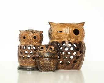 Collection of Vintage Ceramic Owl Tea Light Candle Holders