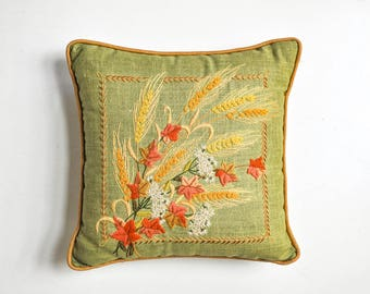 Vintage Sage Green Crewel Embroidered Floral Pillow