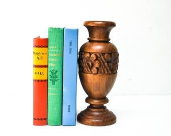Vintage Floral Carved Wood Vase