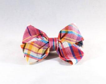 Preppy Pink and Orange Madras Girl Dog Bow Tie