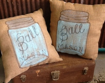 Pillow Ball Mason Jar Burlap