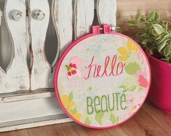 Romantic Wall art embroidery hoop hand embroidered hoop wall frame eco friendly little girl vintage 6 inches hoop pink green hello beauty