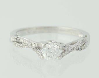 Diamond Engagement Ring - 14k White Gold Round Cut .58ctw Unique Engagement Ring N7484