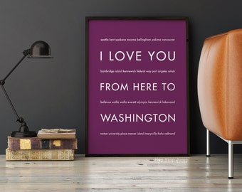 Washington State Gift Art Wall Print, I Love You From Here To WASHINGTON, Shown in Eggplant, Free U.S. Shipping