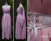 Shae Handmaiden Dress in Pink Cotton, White Satin and Vintage Lace (Cosplay, Larp, Renfaire) - one size fits all - <READY TO SHIP>