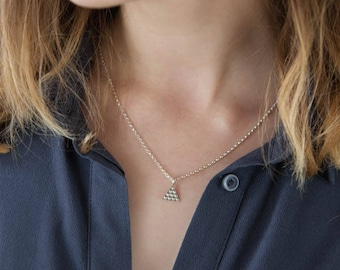 Small Triangle Necklace - Textured Sterling Silver Pendant - Minimal Geometric Jewelry - Triangle Pendant - Layered Necklace