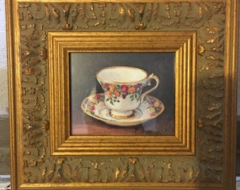 Vintage Wall Decor ~ Teacup Print by Barbara Mock ~ Gilded Baroque Wood Frame