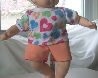 """Doll clothes, 15"""" (Bitty Baby) size, recycled and new material, shorts & t-shirt, double stitched, easy on and off"""