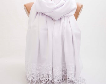 Luxurios  white pashmina shawl scarf with french lace border  ,bridesmaid shawl, bridesmaid gift -WITH COLOR OPTION