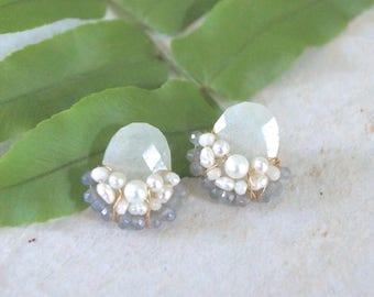 Large moonstone earrings - stud earrings