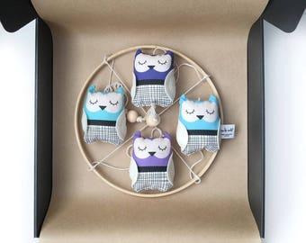 Blue + Purple Owl Nursery Mobile - Hanging owl mobile - One of a Kind - Hanging mobile - Nursery decor - Owl theme nursery - Baby Owls