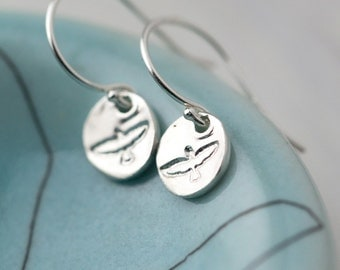 Sterling Silver Flying Bird Earrings | Summer Outdoors Tiny Hand Stamped Sterling Silver Earrings Dangle | Nature Lovers Gift Idea for Her