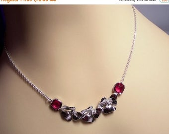 30% OFF SALE thru Mon Orchids and Ruby Red Necklace, Mothers Day, Mom Sister Grandmother Jewelry Gift, Bridesmaid, Wedding, Cocktail, Spring