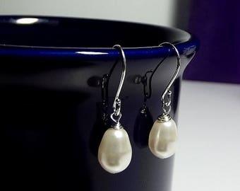 30% OFF SALE thru Mon SET 7 Pairs Swarovski White Pearl Teardrop Earrings, Tear Drop Wedding Bridesmaid Maid of Honor Jewelry Gifts Favors ,