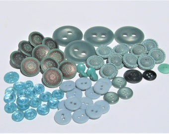 Vintage Turquoise Buttons: Teal, Aqua, Turquoise Buttons, 65 Buttons in Shades of Turquoise