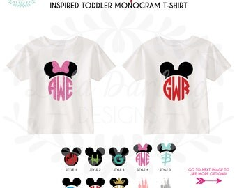 TODDLER Monogram Disney Inspired Mickey Minnie Heat Press T-Shirt / Disney Vacation Trip