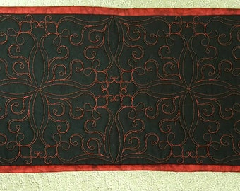 Art Deco or Art Nouveau Black and Red Table Runner or Hostess Gift