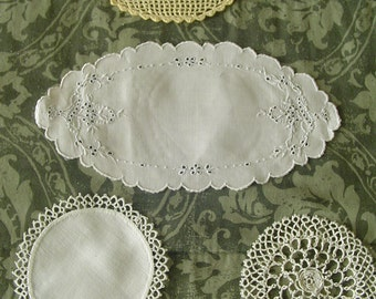 """Vintage Doily Assortment, Tatted Doily, Fabric with Tatting Doily, Oval Maderia Doily, Filet Monogrammed """"M"""" Doily"""